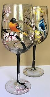 Seasonal Wine <b>Glass</b> Set of Four Hand <b>Painted Birds</b> Hummingbird ...
