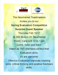 the newmarket toastmasters tnt tnt spring evaluation competition thurs feb 16 17