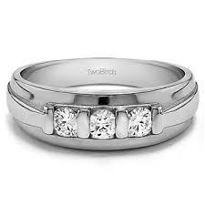 Shop TwoBirch Sterling Silver 1/<b>2ct</b> TDW Diamond Unique 3-<b>stone</b> ...