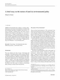 a brief essay on the nature of  and in  environmental policy    inside