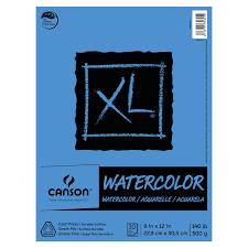 "Canson XL Watercolor Art Pad, 9"" x 12"" Natural <b>White</b> Paper, <b>30</b> ..."