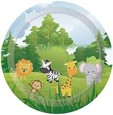 <b>10pcs</b> Safari animals theme paper plates <b>kids</b> birthday party ...