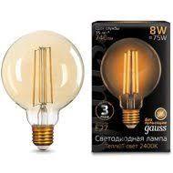 <b>105802008 Лампа Gauss</b> LED <b>Filament</b> G95 E27 8W Golden