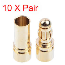 1 pair mt60 3 5mm 3 pole bullet connector plug set for rc esc to motor