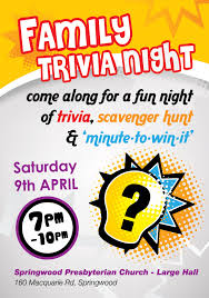 promotional flyers for family events springwood woodford church flyer for family trivia night