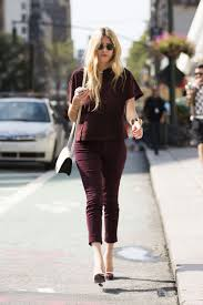 work outfit ideas for the first day of fall glamour first day of fall outfit idea burgundy matching top pants