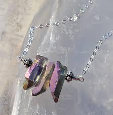 Purple <b>titanium coated</b> rock quartz <b>crystal points</b> on Sterling Silver ...