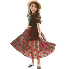Teenager <b>Girls</b> Red Heart <b>Embroidery</b> Long Maxi Tutu Skirt Kids ...