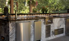 gallery outdoor living wall featuring:  marvelous outdoor kithen island design ideas white granite kitchen island gold metal double handle kitchen faucet