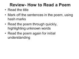 compare and contrast essay expository writing objective today we  review  how to read a poem read the title mark off the sentences in the