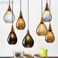 Online Shop <b>Artpad</b> Nordic Wooden&Glass Pendant Light For Living ...