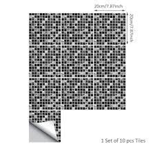 <b>10pcs</b>/<b>set</b> 3D Self adhesive <b>Waterproof</b> Black marble Mosaic Tile ...