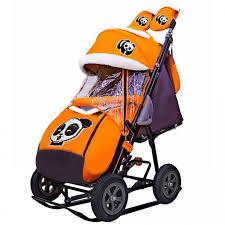 <b>Санки</b>-коляска <b>Galaxy Snow</b> City-1-1 Панда надувные колёса ...