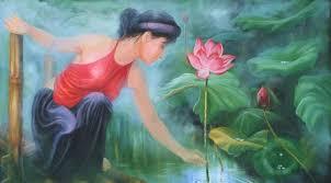 Image result for tranh vẽ thiếu nữ đẹp