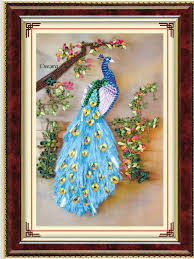3D <b>DIY Ribbon Embroidery</b> Peacock Flower <b>Needlework</b> Kits <b>Cross</b> ...