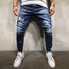 Men's Jeans Pants Autumn Denim Cotton Straight Pocket Trousers ...