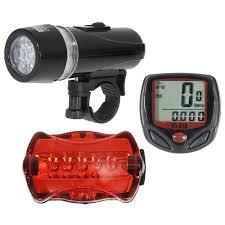 Bicycle Speedometer + 5 <b>LED Mountain Bike</b> Cycling Light Head + ...