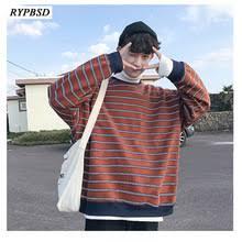 <b>Autumn New</b> Korean Fashion striped <b>sweatshirt</b> men Harajuku ...