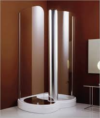 bathroom ideas corner shower design: unique glass shower stall kits with brown wall matched with white tile floor for bathroom decor