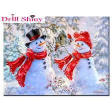 Diamond Embroidery <b>winter scenery snowman</b> painting square ...