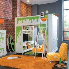 girls room playful bedroom furniture kids:  amazing fun colorful kids room with loft bed design with amazing