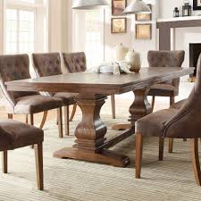 kitchen pedestal dining table set: homelegance marie louise double pedestal dining table in rustic brown