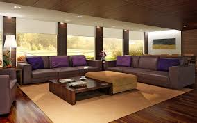 design living room furniture interesting brown varnished furniture  cool dark brown sofa with purple cushion and varnished wood