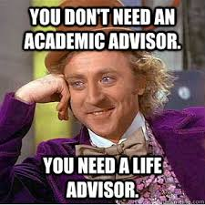 you don't need an academic advisor. you need a life advisor ... via Relatably.com
