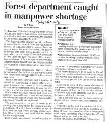centre for science and environment forest department caught in manpower shortage the times of 26 2003