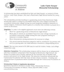 scholarships sweetwater isd 2017 lady clyde hooper memorial scholarship