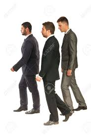 profile of three business men walking to work isolated on white profile of three business men walking to work isolated on white background stock photo 18205729