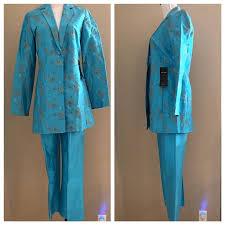 Crazy Price Blue Silk <b>Montego</b> Bay Pant <b>Suit</b> 02HQW29H ...