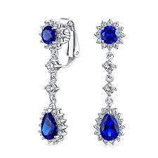 Blue Teardrop Cubic Zirconia CZ Halo Crown Prom ... - Amazon.com