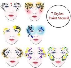 <b>7 Styles</b>/set Reusable DIY Face Paint Makeup Stencil <b>Body Painting</b> ...