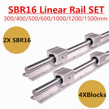 free shipping 2 x sbr16 210 360 400 mm linear rail support rod guides 12 sbr16uu bearing