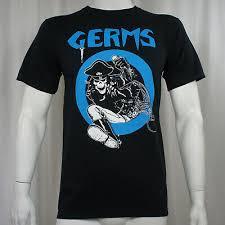 <b>Authentic</b> GERMS <b>Band</b> Leather Skeleton Circle Logo Punk Rock T ...
