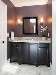 popular cool bathroom color: plum powder room w black cabinets add a cream colored pearlescent shower curtain and