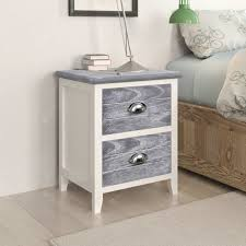 <b>Nightstand</b> 2 pcs with 2 Drawers Grey and White Sale, Price ...