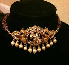 22k gold antique short <b>choker necklace embossed</b> with peacock ...