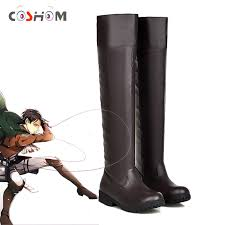 Coshome Anime <b>Attack on Titan Shoes</b> Cosplay Boots Shingeki No ...