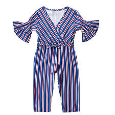 Hopscotch Girls Polycotton <b>Vertical</b> Line Bell Sleeves Jumpsuit in ...