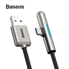 <b>Baseus</b> Colorful Lighting USB Type C Cable <b>Elbow</b> T-Shape Cable