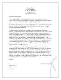 wind technician cover letter mechanical technician cover letter