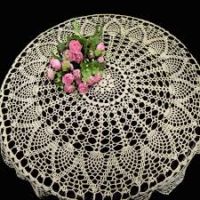 rectangular dining table cover cloth knitted vintage: cm hand made crochet vintage knit retro decorative hook engraving flower weaved knitted round tablecloth