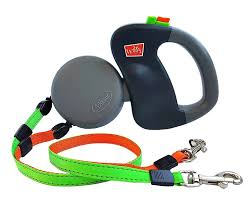 Wigzi Dual Doggie <b>Retractable</b> Dog Leash, <b>Green/Orange</b>, 10-ft long