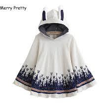 <b>Merry Pretty</b> Outerwear <b>Women</b> Autumn Rabbit Print Ear Stereo ...