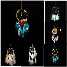 LED Light Wind Chimes Dreamcatcher with <b>Feather</b> Wall <b>Hanging</b>