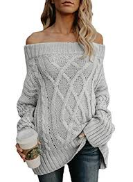 Astylish Women's <b>Sexy Off Shoulder</b> Loose Cable Knit Sweater ...