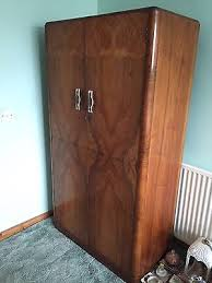 1940s vintage tallboy walnut wardrobe art deco figured walnut wardrobe vintage