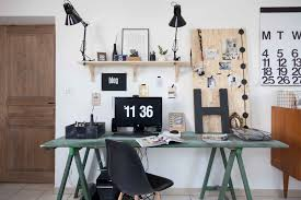 my house small trendy study room photo in other with white walls and a freestanding desk awesome white brown wood